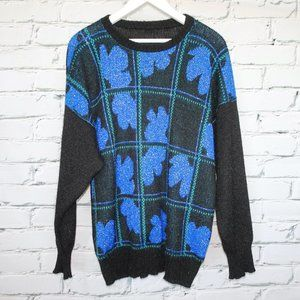 Retro Black Sweater with Blue Green Graphic Grid